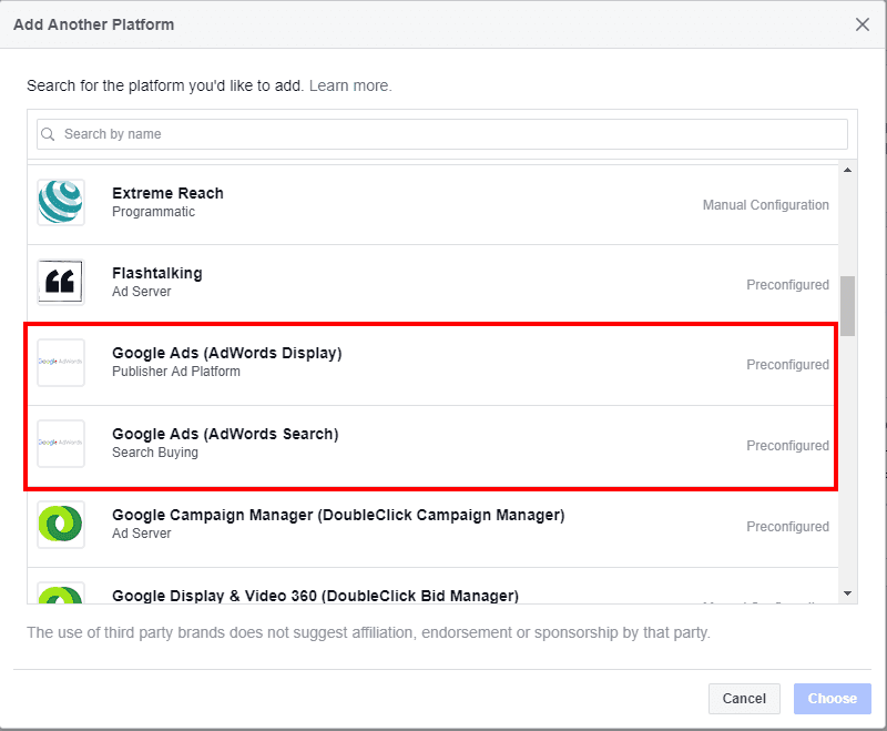 facebook attribution ad platforms