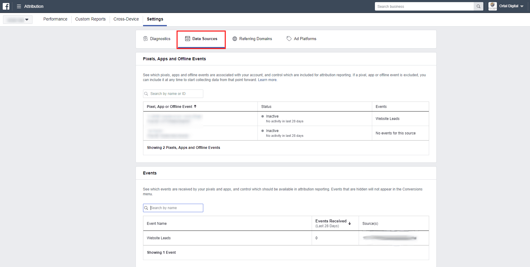 facebook attribution data sources