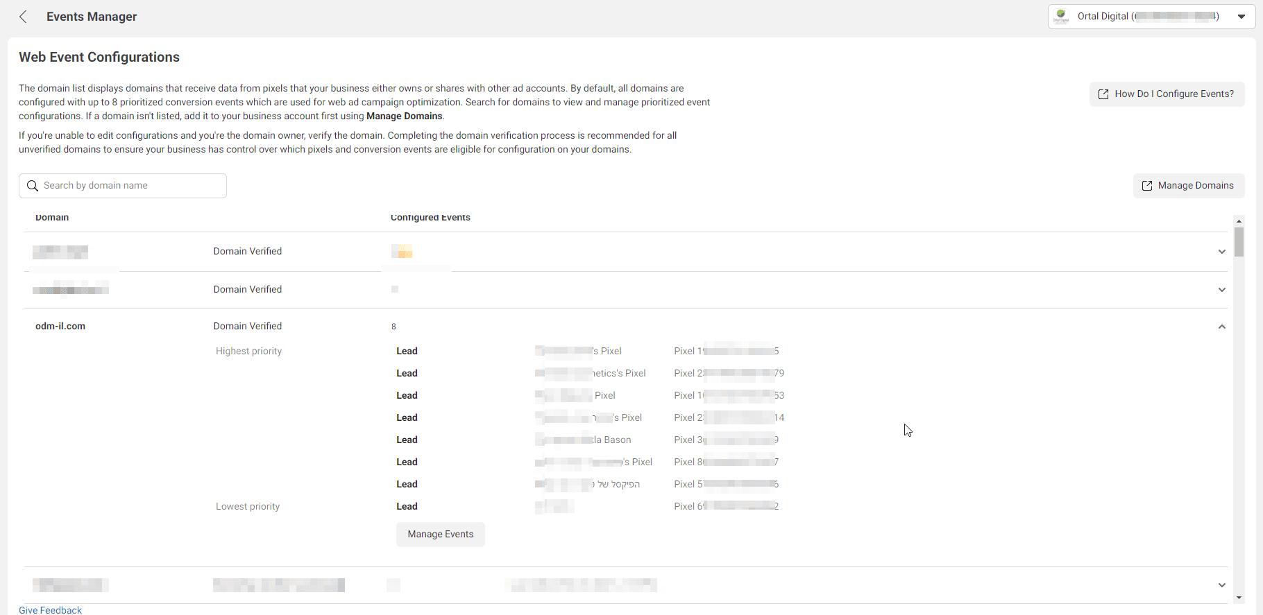 מסך configure web events